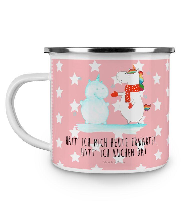 Emaille Tasse Einhorn Schneemann aus Metall im Emaille Look  Weiß - Das Original von Mr. & Mrs. Panda.  Diese wunderschöne Emaille Tasse von Mr. & Mrs. Panda ist wirklich etwas ganz besonders.  Diese Metalltasse mit abgesetztem Edelstahl Rand in Emaille Optik ist der perfekte, bruchsichere Begleiter für dein nächstes Abenteuer.    Über unser Motiv Einhorn Schneemann  Das Winter-Einhorn macht richtig Lust auf den ersten Schnee. Schon mal probiert, sich ein Ebenbild aus Schnee zu bauen? Dann…