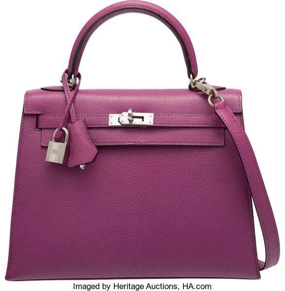 Hermes 25cm Violet Chevre Mysore Leather Sellier Kelly Bag withPalladium Hardware. I Square, 2005. ExcellentConditio...