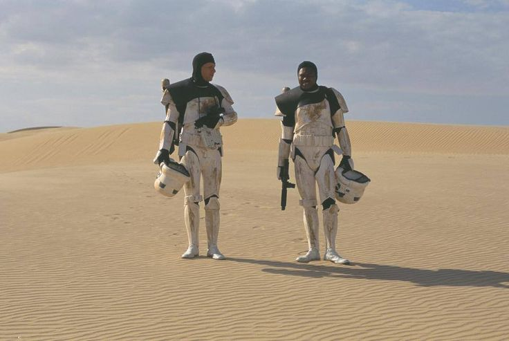 Even Stormtroopers need a break. Between takes, on location. Star Wars.