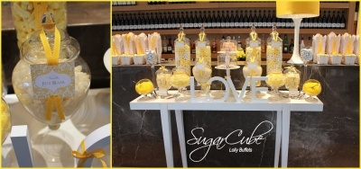 This yellow candy buffet was designed for the gorgeous Angela and Warwick at the tranquil Centennial Parklands Dining, Sydney. Photo by Sydney bomboniere specialists SugarCube Lolly Buffets... see more at http://sugarcube.sydney.weddingcircle.com.au