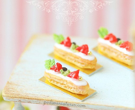 View Dollhouse Food Pastries by miniaturepatisserie on Etsy