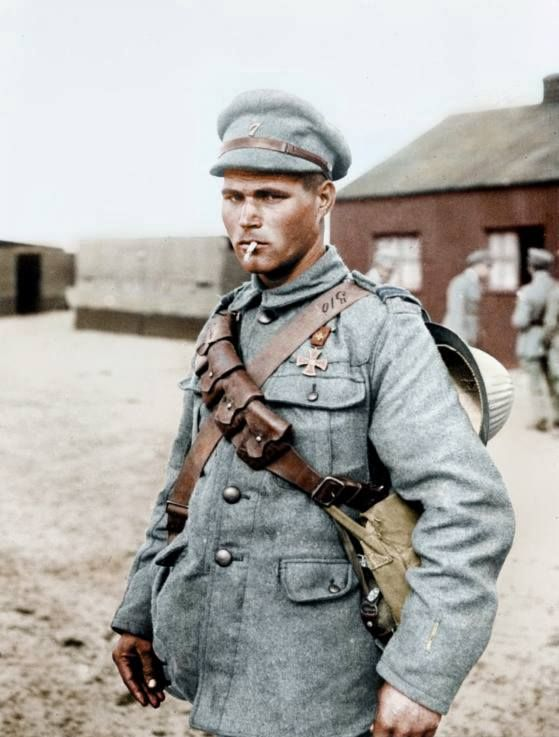 A Portuguese soldier posing with a War Cross, a decoration awarded for bravery on the battlefield. World War 1.