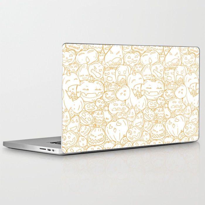Pumpkin Halloween line pattern Laptop & iPad Skin by StrijkDesign | Society6