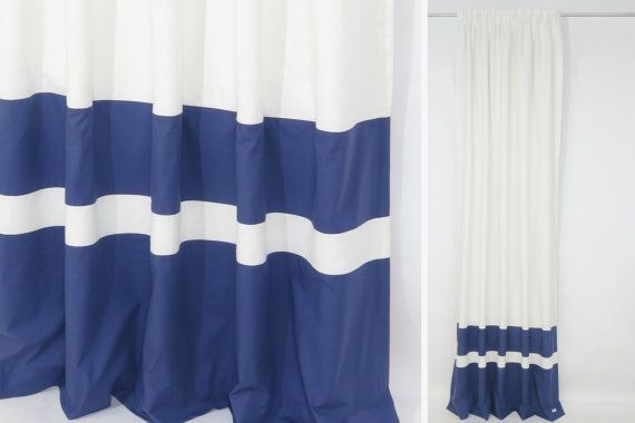 Navy Blue White Pencil Pleat Curtains made from Linen and