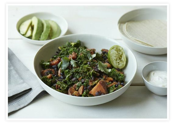 Sweet Potato, Black Bean and Kale Skillet. Enjoy without the Tortilla and Sour Cream