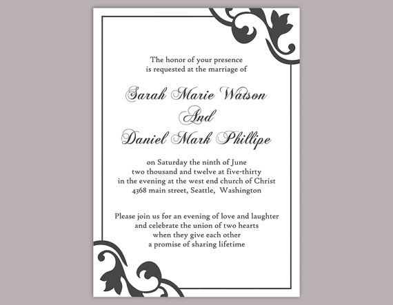 DIY Wedding Invitation Template Editable Editable Word File Instant Download Elegant Printable Invitation Black Wedding Invitation DIY Invitations by TheDesignsEnchanted