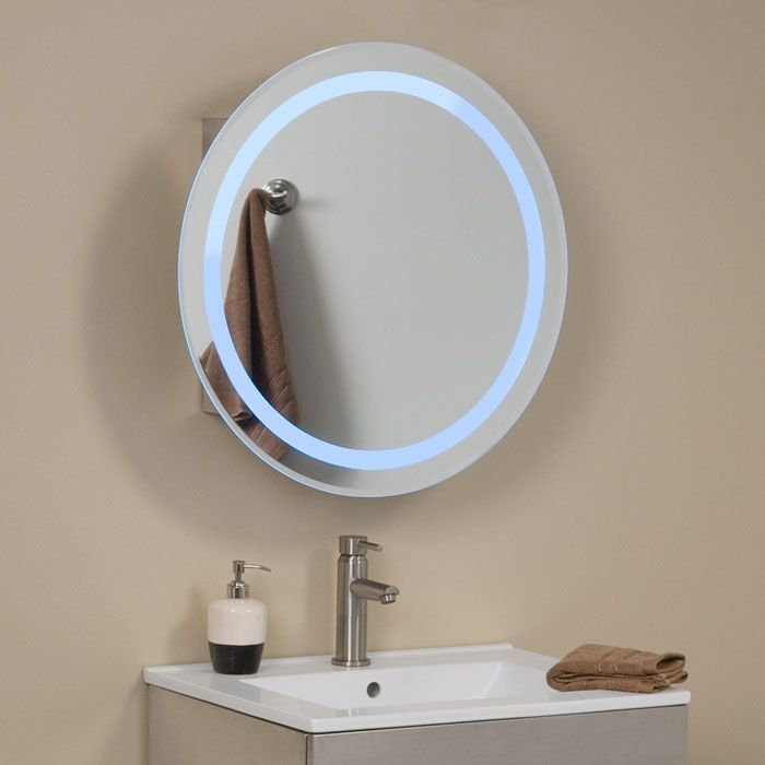 the lucent round stainless steel medicine cabinet will make a great addition to any bathroom its mirror is accented by a blue halo of light