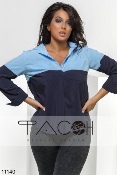 Оригинальная рубашка с кармашками на груди нежно-голубой/ черный