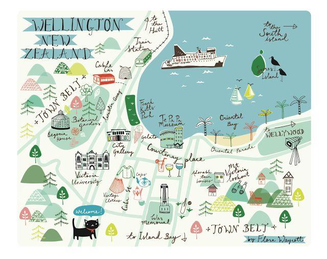 Flora Waycott - Illustrated map of Wellington, New Zealand