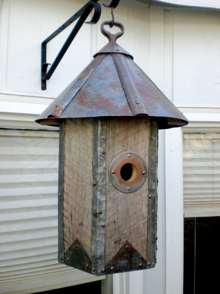 Arts and Crafts Hexagonal Birdhouse Made of