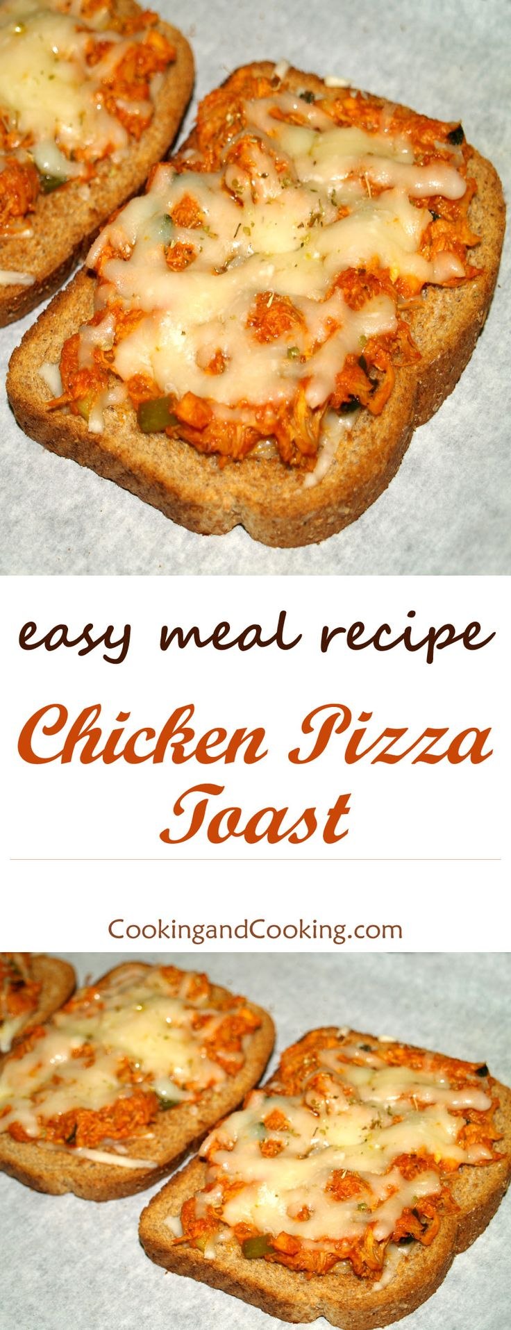 In this Chicken Pizza Toast recipe, I used toasted bread slices as a base and topped with a layer of chicken mixture and Mozzarella cheese.