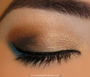 Gold, Brown, and Teal Makeup Look