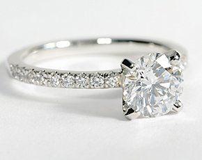 Petite Pavé Diamond Engagement Ring in Platinum #BlueNileDiamond Engagement Rings, Solitaire Engagement Rings, Pavé Diamonds, Cute Engagement Rings, Diamonds Rings, Petite Pavé, Dreams Rings, Diamonds Engagement, Platinum Bluenile