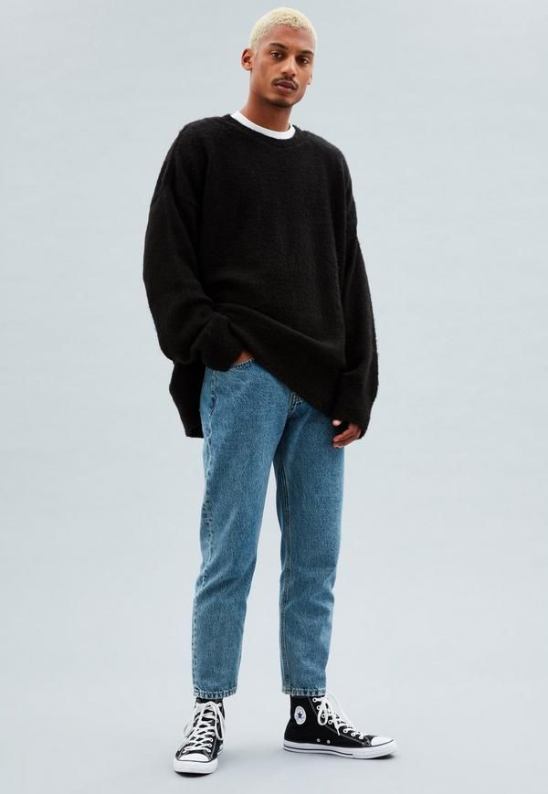 Mennace clothing - This super-soft textured knit is made with a crew neck, dropped shoulders, ribbed trims and side splits to the hem. It has a relaxed oversized style. Recommend buying a size down for the best fit.