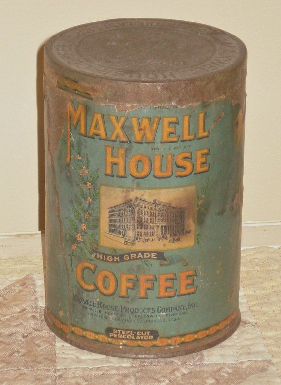 Antique Coffee Tin - Paper Label - Maxwell House - Primitive - Farmhouse