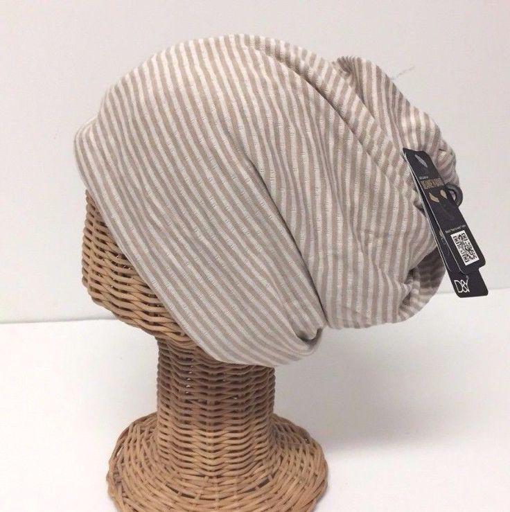 Knit Striped Beige Beanie Women's Winter Ear Warmer Head Wrap Warm Skull Ski Hat