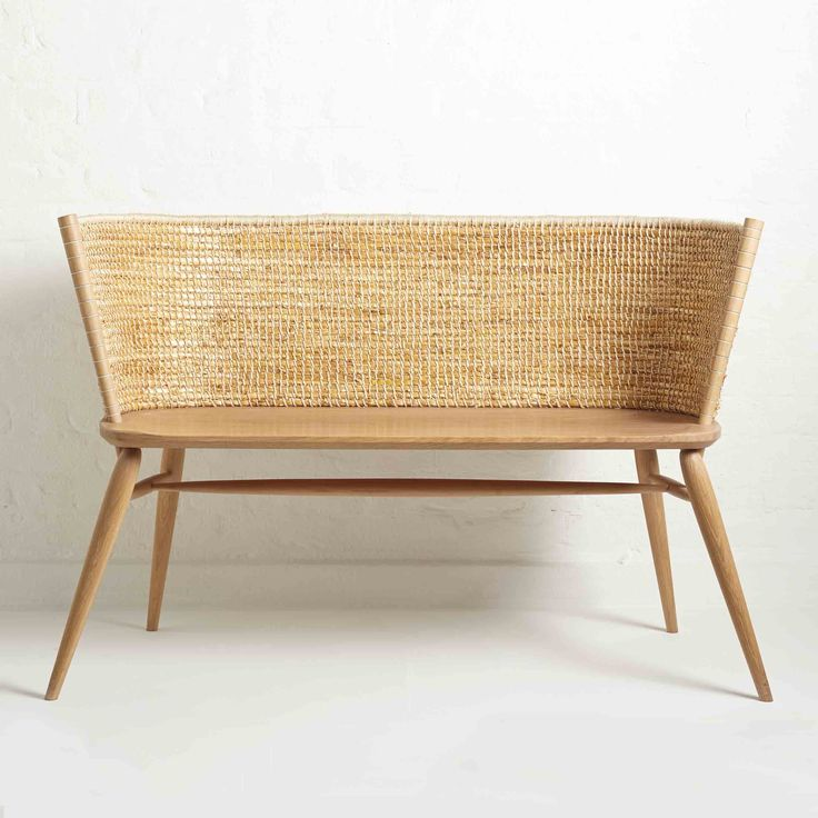 Brodgar Bench by Gareth Neal and Kevin Gauld. A reworking of the traditional Orkney chair in oak and straw.