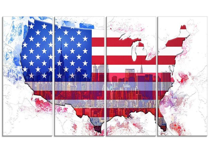 American City Flag Map Canvas Print | PT2829