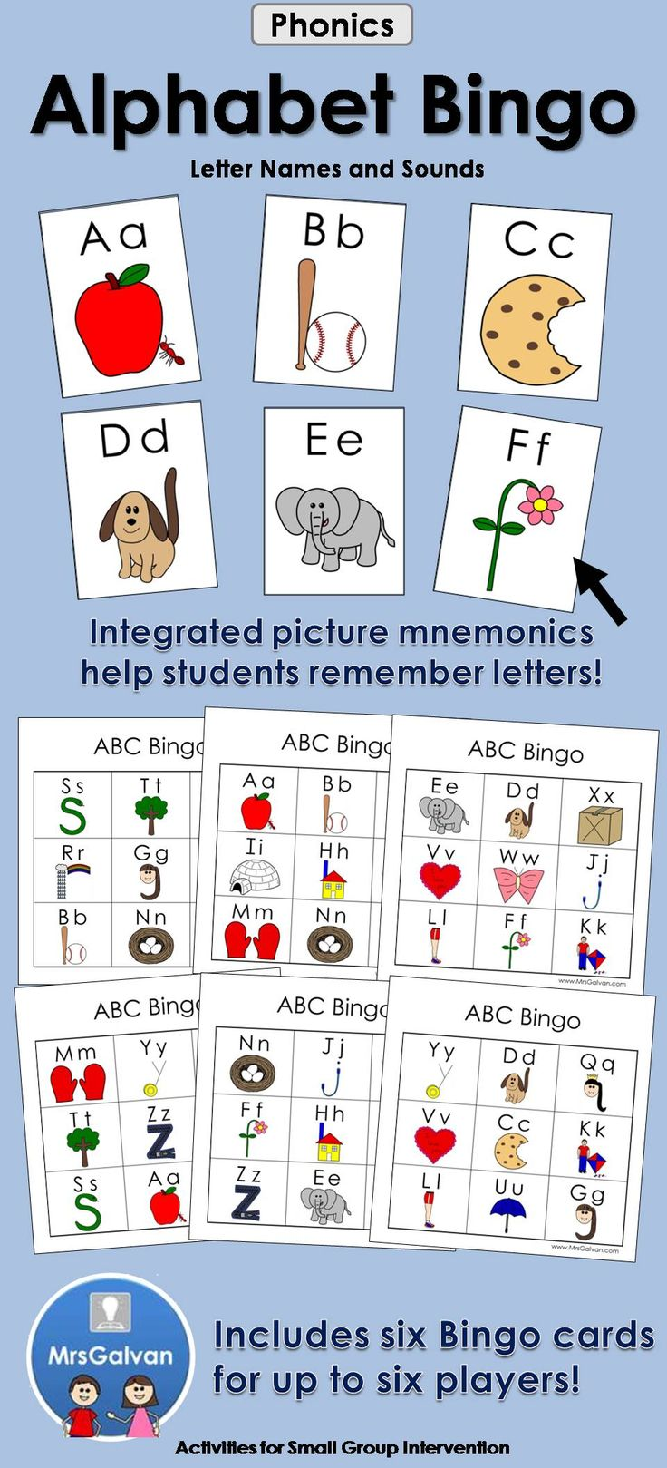 The Alphabet Bingo is a great way for children to learn letter names and sounds. It can quickly become a new literacy center your children will enjoy! The friendly pictures help students associate the initial sound with the letter. The bingo calling cards can also be used as flashcards. This bingo game is a fun way for students to learn. Bonus Alphabet Page: All of the letters in uppercase and lowercase with a key picture on one page!