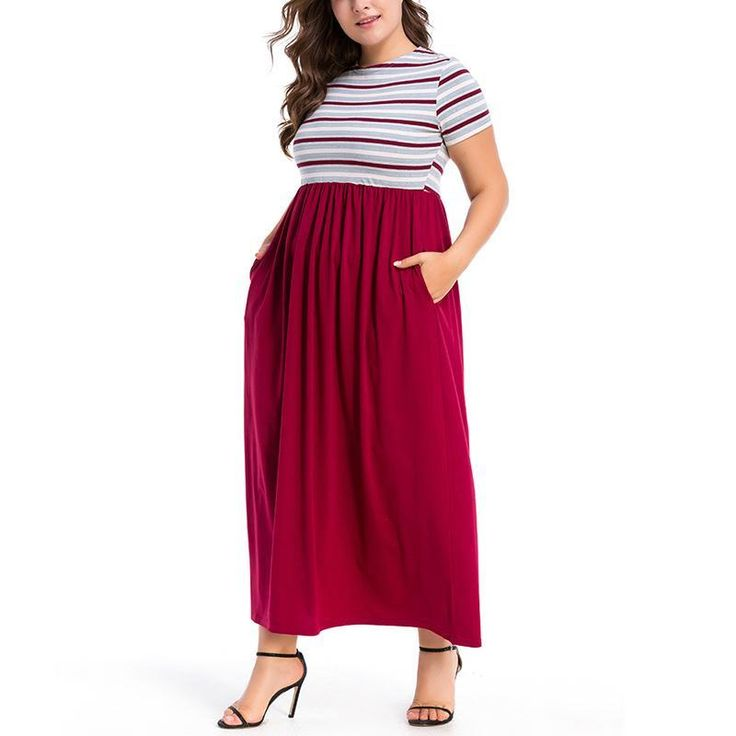Casual Loose Plus Size Short Sleeve Stripe Stitching Maxi Dresses