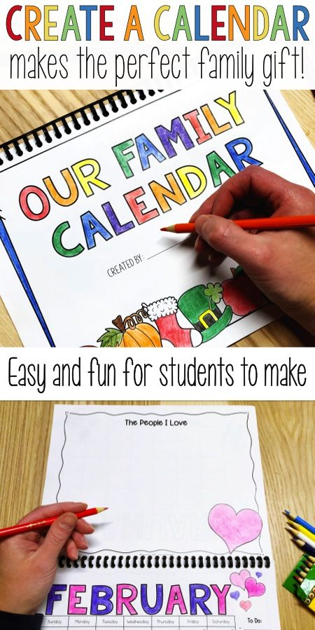 Have your elementary students create a calendar for their families for a holiday gift!  Simple to put together and inexpensive for the teacher.  Includes dated and blank monthly calendar pages, as well as holiday and seasonal options.  Students can write or draw a picture for each month.  Receive FREE updates every year!