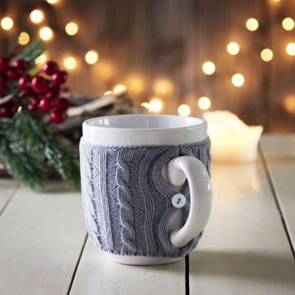 Kubek ceramiczny w sweterku INVOTIS COOL TOUCH XL - Garneczki - Kubki i filiżanki
