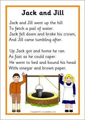 Jack and Jill song sheet (SB10835) - SparkleBox