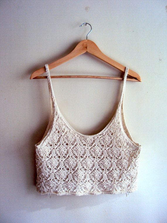 Women's Top Crochet Tank Halter Cotton Beige Lace Top Gypsy Top Boho Top Spring Summer Clothing Festival Top Beachwear Swimsuit Coverup by GrahamsBazaar, $30.00                                                                                                                                                     Más