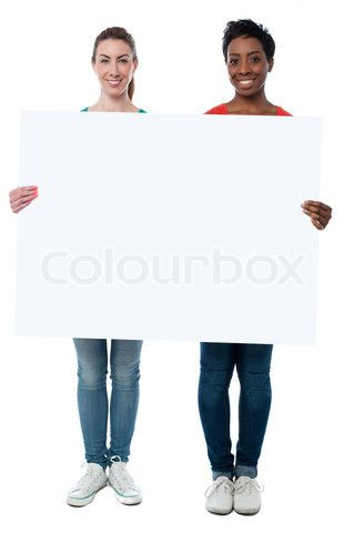 Image of 'Full length shot of friends holding billboard' on Colourbox
