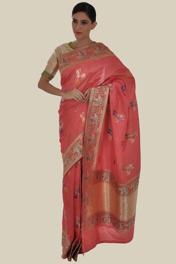 Coral Pink Shikargah Zari And Resham Weave Pure Silk Saree