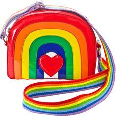 Current Mood Over The Rainbow Bag ($35) ❤ liked on Polyvore featuring bags, handbags, shoulder bags, vegan handbags, faux leather shoulder bag, vintage style purses, heart handbag and heart shaped purse