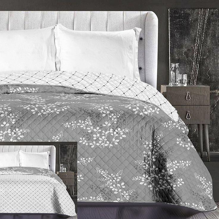 Obojstranná prikrývka na manželskú posteľ sivej farby