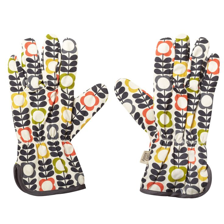 Orla Kiely: Cotton gloves with Big Summer Flower print, suitable for potting. One size.