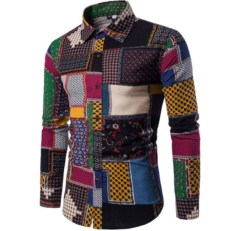 New Autumn Winter Men'S Long Sleeves Printed Floral Beach Club Shirts - BLACK XL