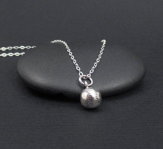 Baseball Necklace Sterling Softball Necklace, Sports Necklace, Sports Jewelry