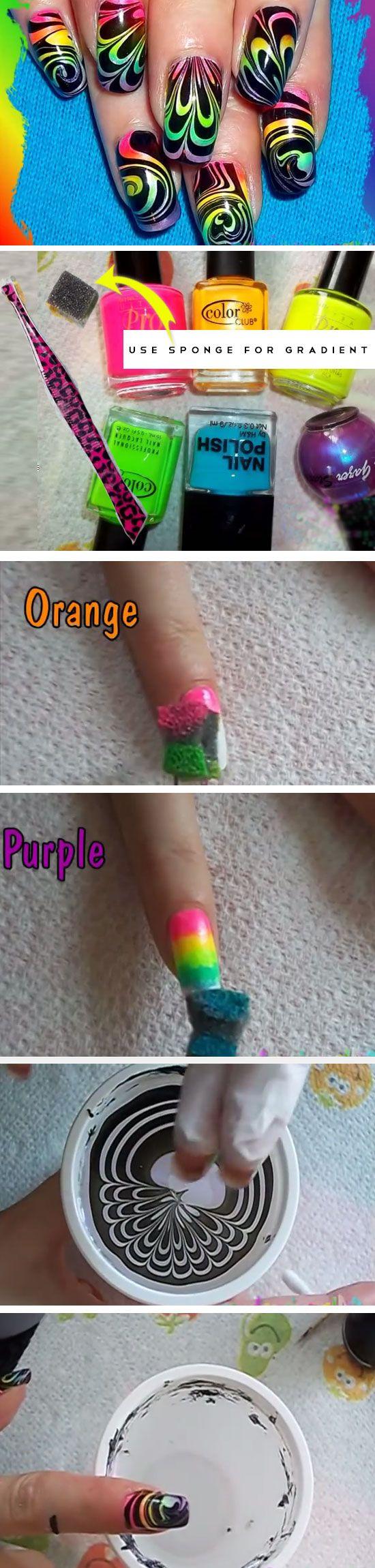 Rainbow Water Marble | Cute Summer Nail Art Ideas for Short Nails