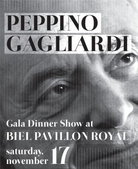 """Italian singer Peppino Gagliardi will be performing live at BIEL in an exclusive dinner show.    His first hit in Italy came in 1963 with """"T'amo e t'amerò."""" In 1970, he had another big hit with the song """"Settembre"""" and more hits followed in the early 1970's"""