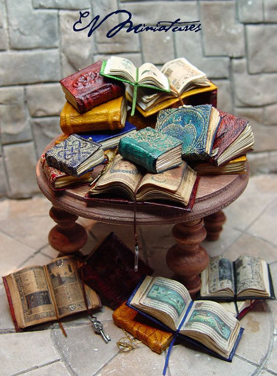 Miniature Leather Book of Herbs by evminiatures on Etsy, $18.00