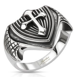 316L stainless steel dragon wing cross shield ring. Bold and eye-catching design The wearer of this ring will stand out from the crowd. A real conversation starter. High quality hypoallergenic stainle