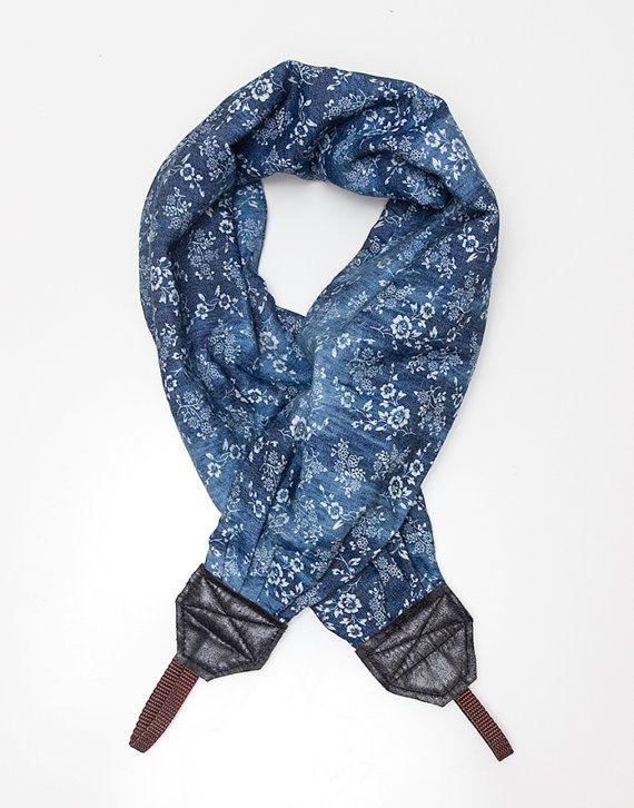 scarf blue camera strap by ewelinapolandastraps on Etsy