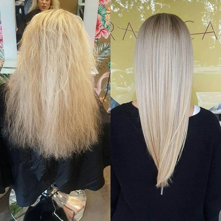 Fabulous before & after pic of our Alfaparf Keratin Hair treatment on this gorgeous Blonde. Frizz free for Winter! This Keratin was done with a purple based keratin fluid which is great for toning Blondes. Reccomended retail of the complete KEVIN.MURPHY Hyrdate.Me wash, rinse and mask for homecare. @lovekevinmurphy  #theradicalhairdesign #hairbygemmabandiera