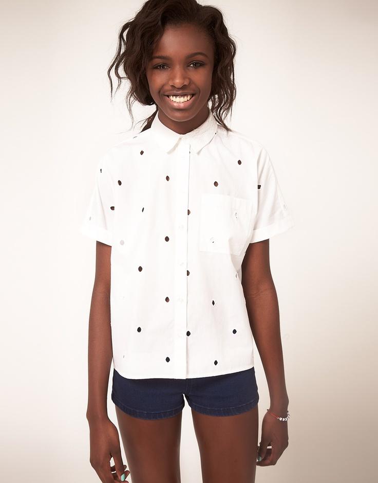 embroidered dots: Asos Com, Dots Blouses, Asos Shirts, Cut Outs Spots, Buy Asos, Chemisi Blanc, Asos 39 99, Embroidered Dots, Embroidered Spots