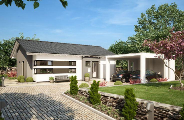 Fertighaus Bungalow modern mit Satteldach Architektur