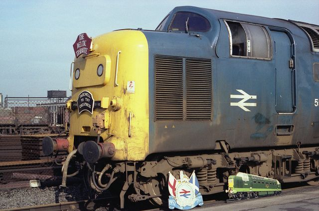 """55009 (D9009) """"ALYCIDON"""" at Doncaster Works on Sunday 27th February 1982"""