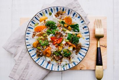 Quick Beef and Broccolini Stir Fry & Rice Style