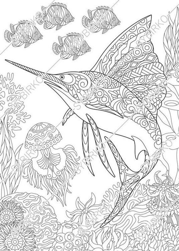 Coloring pages for adults. Ocean world. Sailfish. Fish. Underwater ...