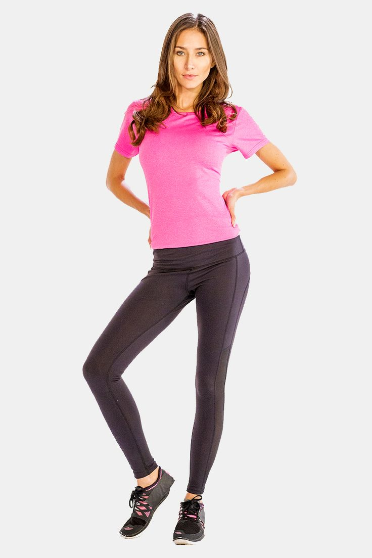 Get hold of this pretty pink half sleeve #tee which comes with a crew neckline , and a very body hugging fit.
