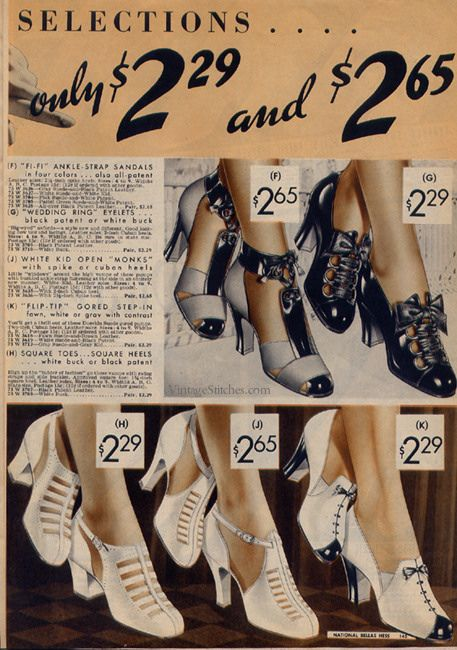 Ladies' Shoes | Spring and Summer 1937 National Bellas Hess |  VintageStitches.com late