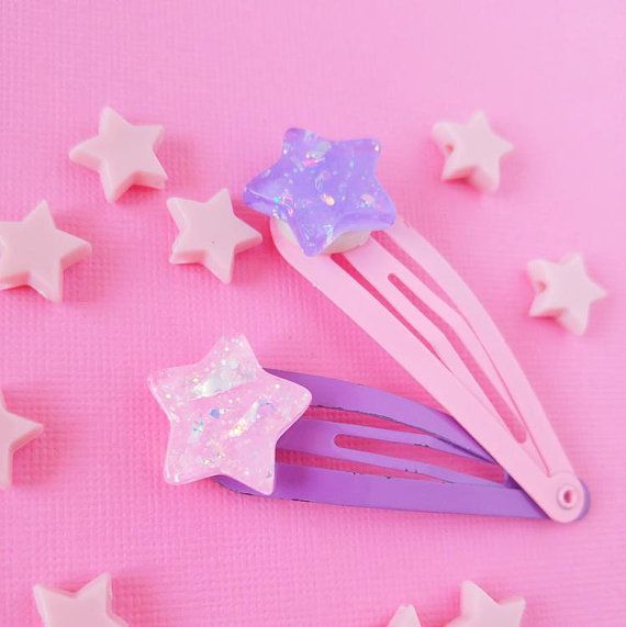Reserved For Lehana Star Hair Clips Pink Purple Star 3 Piece Set Kawaii Fairy Kei Decora Altered Kawaii Hair Clips Kawaii Hairstyles Star Hair
