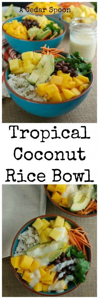 Escape to a warm, tropical destination with this Tropical Coconut Rice Bowl.  Sweet coconut Rice is topped with fresh tropical fruit, black beans, cilantro, avocado and a creamy pineapple dressing making this a nice vegetarian lunch or dinner option. // A Cedar Spoon